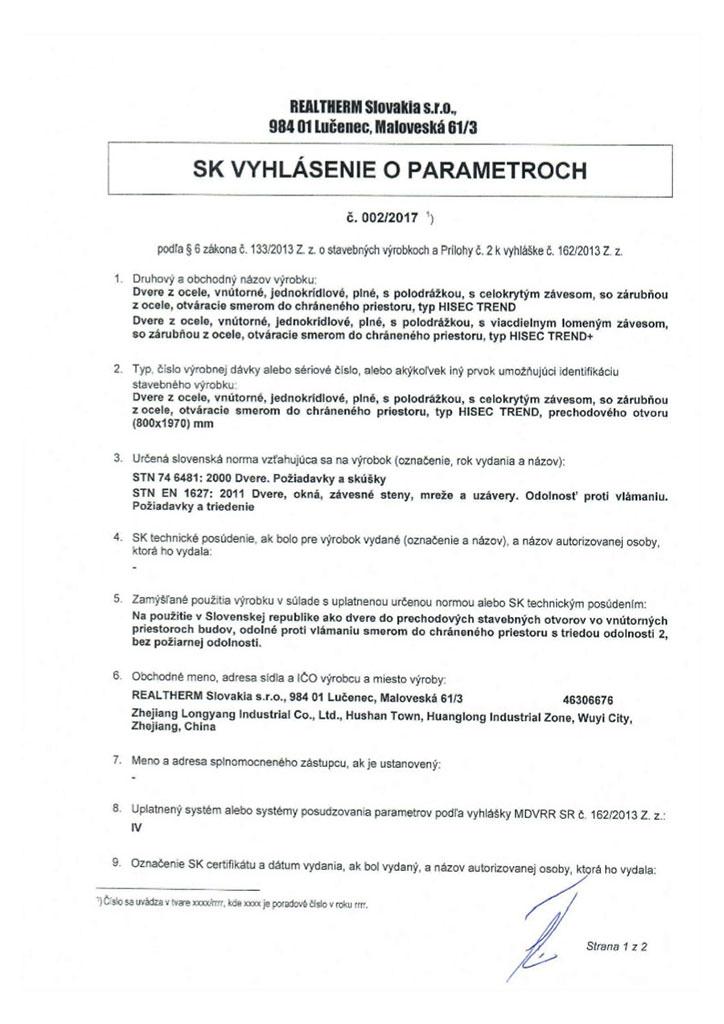 Vyhlasenie.o.parametroch - HISEC
